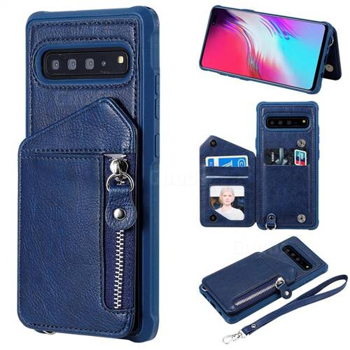 Classic Luxury Buckle Zipper Anti-fall Leather Phone Back Cover for Samsung Galaxy S10 5G (6.7 inch) - Blue