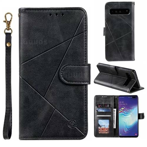 Embossing Geometric Leather Wallet Case for Samsung Galaxy S10 5G (6.7 inch) - Black