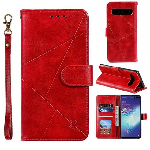 Embossing Geometric Leather Wallet Case for Samsung Galaxy S10 5G (6.7 inch) - Red