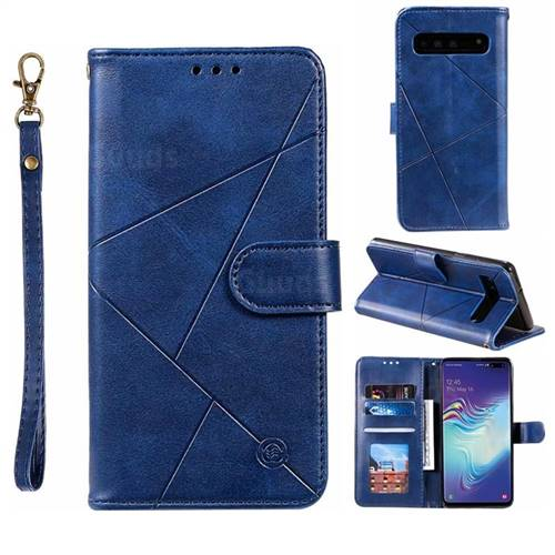 Embossing Geometric Leather Wallet Case for Samsung Galaxy S10 5G (6.7 inch) - Blue