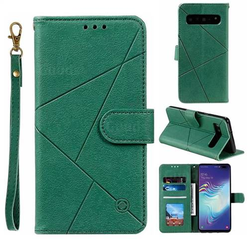 Embossing Geometric Leather Wallet Case for Samsung Galaxy S10 5G (6.7 inch) - Green