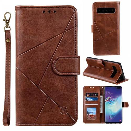 Embossing Geometric Leather Wallet Case for Samsung Galaxy S10 5G (6.7 inch) - Brown