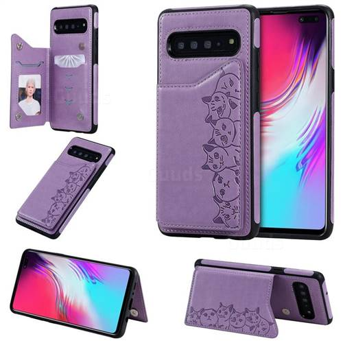 Yikatu Luxury Cute Cats Multifunction Magnetic Card Slots Stand Leather Back Cover for Samsung Galaxy S10 5G (6.7 inch) - Purple