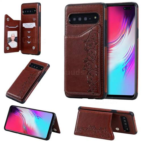 Yikatu Luxury Cute Cats Multifunction Magnetic Card Slots Stand Leather Back Cover for Samsung Galaxy S10 5G (6.7 inch) - Brown