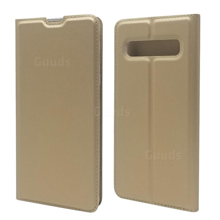Ultra Slim Card Magnetic Automatic Suction Leather Wallet Case for Samsung Galaxy S10 5G (6.7 inch) - Champagne