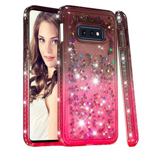 Diamond Frame Liquid Glitter Quicksand Sequins Phone Case for Samsung Galaxy S10e (5.8 inch) - Gray Pink