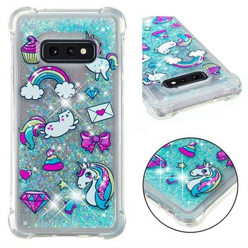 Fashion Unicorn Dynamic Liquid Glitter Sand Quicksand Star TPU Case for Samsung Galaxy S10e (5.8 inch)