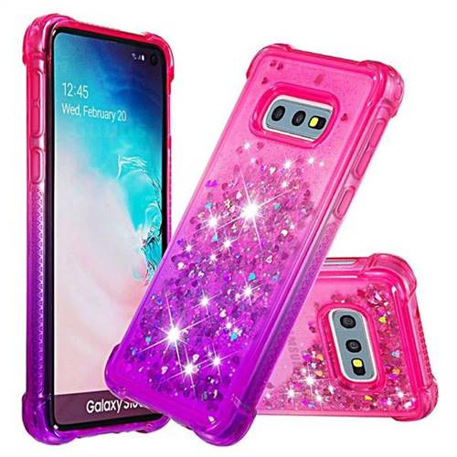 Rainbow Gradient Liquid Glitter Quicksand Sequins Phone Case for Samsung Galaxy S10e (5.8 inch) - Pink Purple