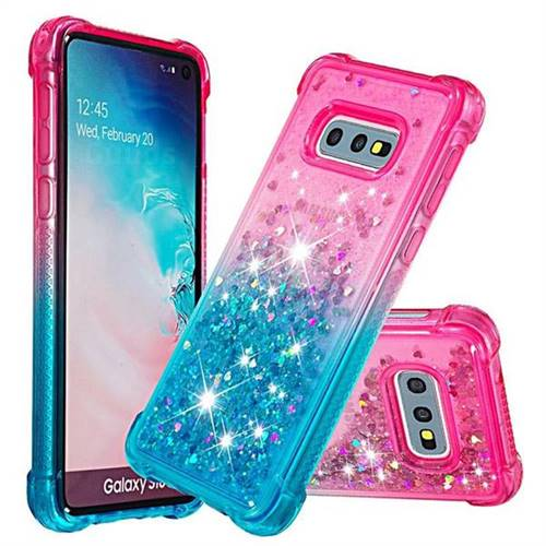 Rainbow Gradient Liquid Glitter Quicksand Sequins Phone Case for Samsung Galaxy S10e (5.8 inch) - Pink Blue