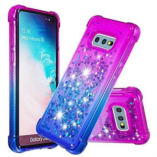 Rainbow Gradient Liquid Glitter Quicksand Sequins Phone Case for Samsung Galaxy S10e (5.8 inch) - Purple Blue