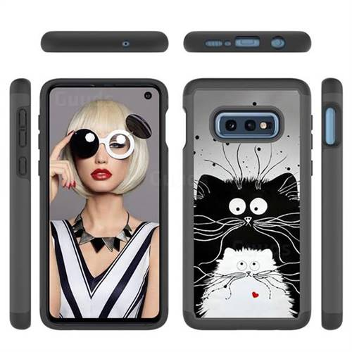 Black and White Cat Shock Absorbing Hybrid Defender Rugged Phone Case Cover for Samsung Galaxy S10e (5.8 inch)