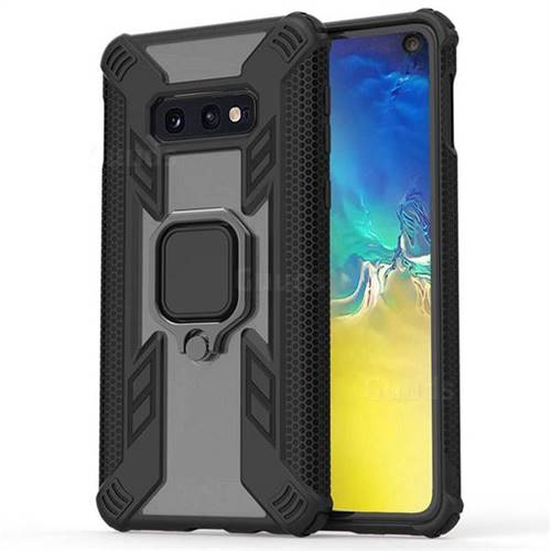Predator Armor Metal Ring Grip Shockproof Dual Layer Rugged Hard Cover for Samsung Galaxy S10e (5.8 inch) - Black