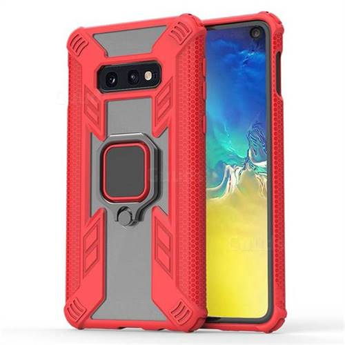 Predator Armor Metal Ring Grip Shockproof Dual Layer Rugged Hard Cover for Samsung Galaxy S10e (5.8 inch) - Red