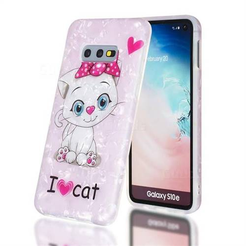 I Love Cat Shell Pattern Clear Bumper Glossy Rubber Silicone Phone Case for Samsung Galaxy S10e (5.8 inch)