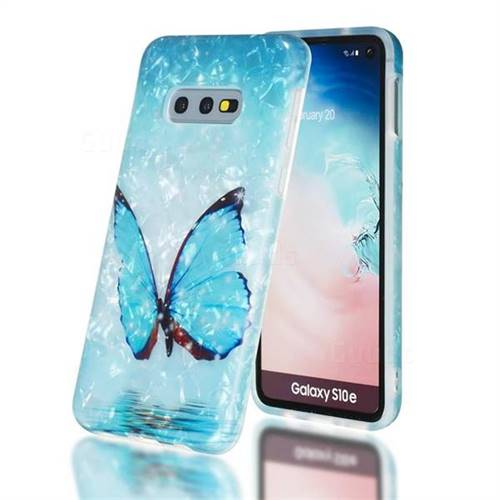 Sea Blue Butterfly Shell Pattern Clear Bumper Glossy Rubber Silicone Phone Case for Samsung Galaxy S10e (5.8 inch)