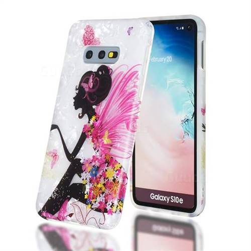 Flower Butterfly Girl Shell Pattern Clear Bumper Glossy Rubber Silicone Phone Case for Samsung Galaxy S10e (5.8 inch)