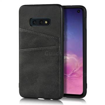 Simple Calf Card Slots Mobile Phone Back Cover for Samsung Galaxy S10e (5.8 inch) - Black