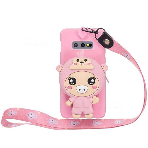 Pink Pig Neck Lanyard Zipper Wallet Silicone Case for Samsung Galaxy S10e (5.8 inch)