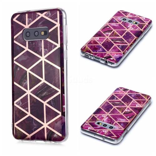 Purple Rhombus Galvanized Rose Gold Marble Phone Back Cover for Samsung Galaxy S10e (5.8 inch)