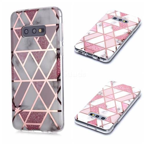 Pink Rhombus Galvanized Rose Gold Marble Phone Back Cover for Samsung Galaxy S10e (5.8 inch)