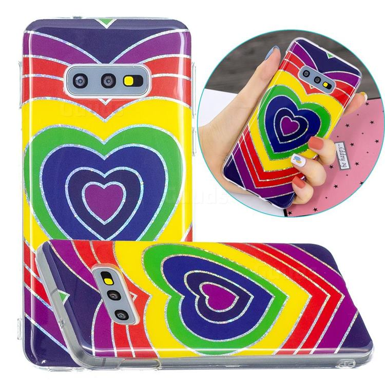 Rainbow Heart Painted Galvanized Electroplating Soft Phone Case Cover for Samsung Galaxy S10e (5.8 inch)