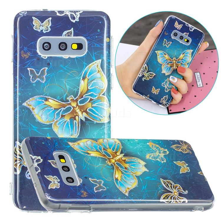 Golden Butterfly Painted Galvanized Electroplating Soft Phone Case Cover for Samsung Galaxy S10e (5.8 inch)
