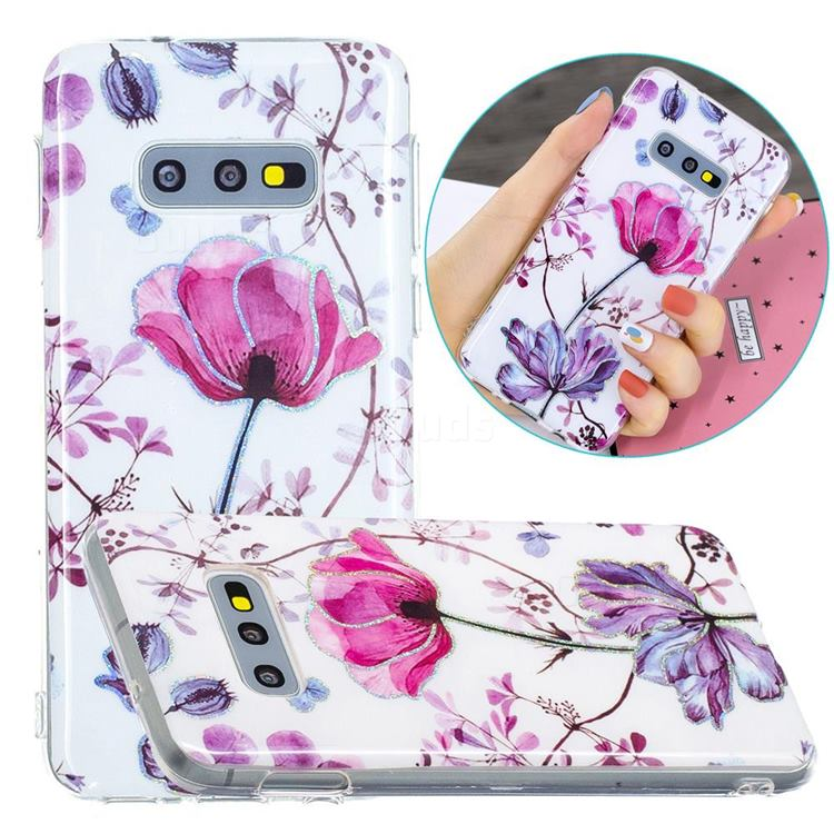 Magnolia Painted Galvanized Electroplating Soft Phone Case Cover for Samsung Galaxy S10e (5.8 inch)