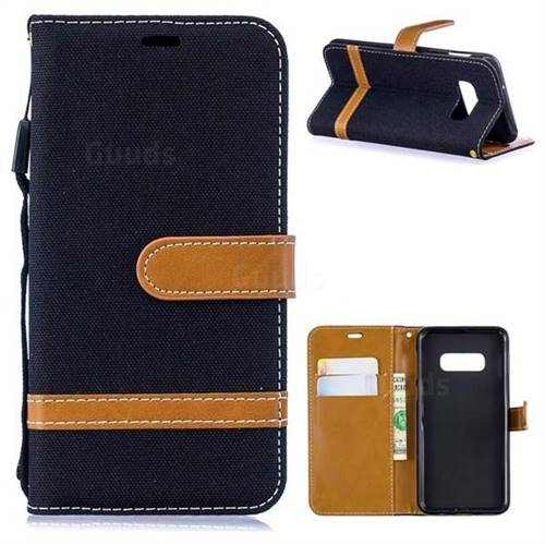 Jeans Cowboy Denim Leather Wallet Case for Samsung Galaxy S10e(5.8 inch) - Black