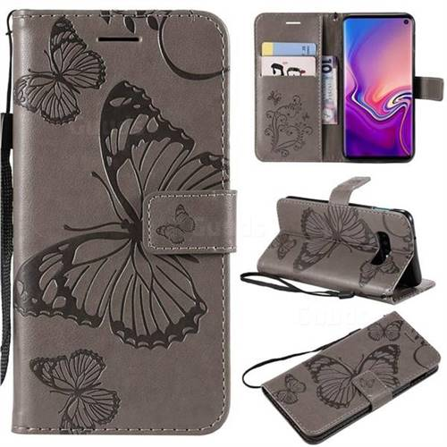 Embossing 3D Butterfly Leather Wallet Case for Samsung Galaxy S10e(5.8 inch) - Gray