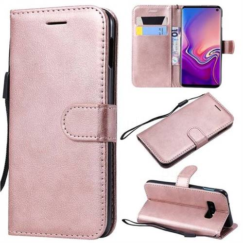 Retro Greek Classic Smooth PU Leather Wallet Phone Case for Samsung Galaxy S10 Lite(5.8 inch) - Rose Gold
