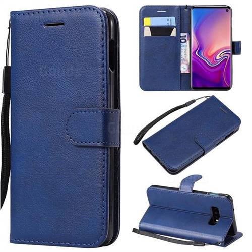 Retro Greek Classic Smooth PU Leather Wallet Phone Case for Samsung Galaxy S10e(5.8 inch) - Blue