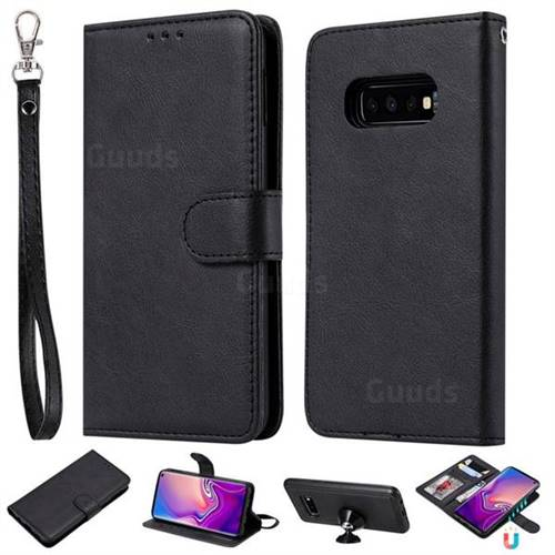 Retro Greek Detachable Magnetic PU Leather Wallet Phone Case for Samsung Galaxy S10e(5.8 inch) - Black