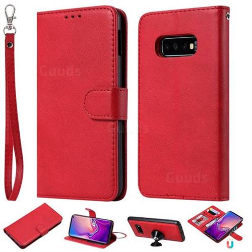 Retro Greek Detachable Magnetic PU Leather Wallet Phone Case for Samsung Galaxy S10e(5.8 inch) - Red