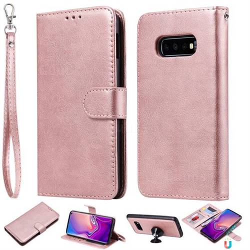 Retro Greek Detachable Magnetic PU Leather Wallet Phone Case for Samsung Galaxy S10e(5.8 inch) - Rose Gold