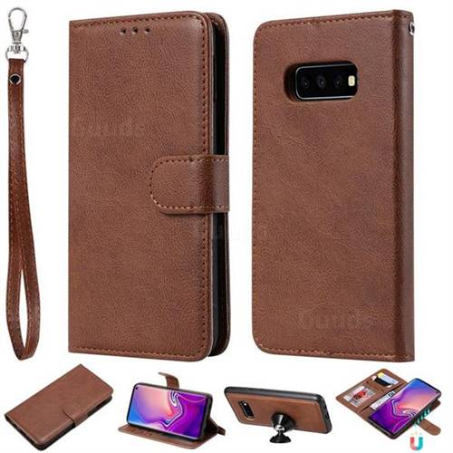 Retro Greek Detachable Magnetic PU Leather Wallet Phone Case for Samsung Galaxy S10 Lite(5.8 inch) - Brown