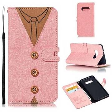 Mens Button Clothing Style Leather Wallet Phone Case for Samsung Galaxy S10 Lite(5.8 inch) - Pink