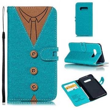 Mens Button Clothing Style Leather Wallet Phone Case for Samsung Galaxy S10e(5.8 inch) - Green