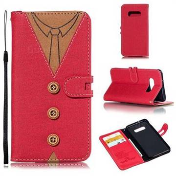 Mens Button Clothing Style Leather Wallet Phone Case for Samsung Galaxy S10e(5.8 inch) - Red