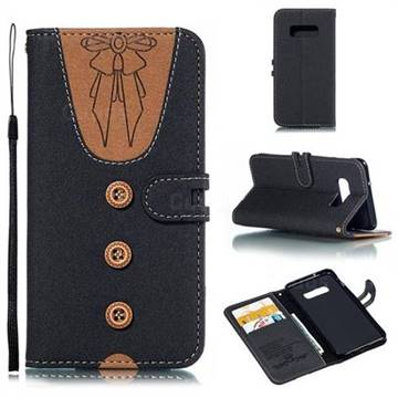 Ladies Bow Clothes Pattern Leather Wallet Phone Case for Samsung Galaxy S10e(5.8 inch) - Black