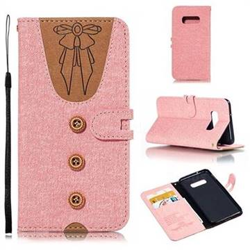 Ladies Bow Clothes Pattern Leather Wallet Phone Case for Samsung Galaxy S10e(5.8 inch) - Pink