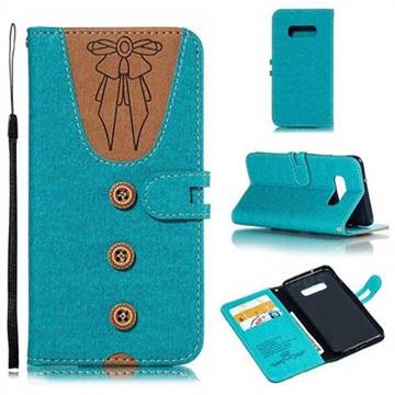 Ladies Bow Clothes Pattern Leather Wallet Phone Case for Samsung Galaxy S10e(5.8 inch) - Green