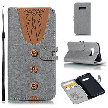 Ladies Bow Clothes Pattern Leather Wallet Phone Case for Samsung Galaxy S10e(5.8 inch) - Gray