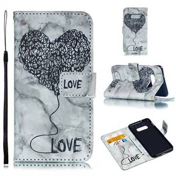 Marble Heart PU Leather Wallet Phone Case for Samsung Galaxy S10e(5.8 inch) - Black