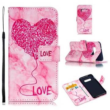 Marble Heart PU Leather Wallet Phone Case for Samsung Galaxy S10 Lite(5.8 inch) - Red