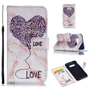 Marble Heart PU Leather Wallet Phone Case for Samsung Galaxy S10e(5.8 inch) - Purple