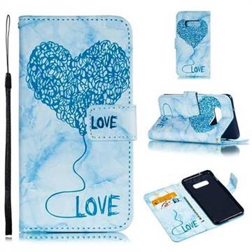 Marble Heart PU Leather Wallet Phone Case for Samsung Galaxy S10 Lite(5.8 inch) - Blue