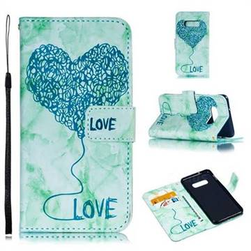 Marble Heart PU Leather Wallet Phone Case for Samsung Galaxy S10e(5.8 inch) - Green