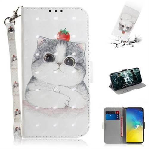 Cute Tomato Cat 3D Painted Leather Wallet Phone Case for Samsung Galaxy S10e (5.8 inch)