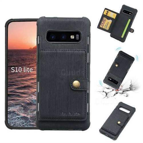 Brush Multi-function Leather Phone Case for Samsung Galaxy S10e (5.8 inch) - Black
