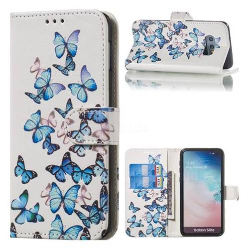 Blue Vivid Butterflies PU Leather Wallet Case for Samsung Galaxy S10e (5.8 inch)